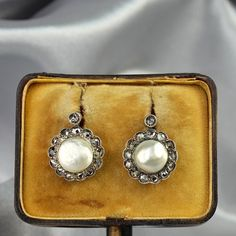 Spectacular Victorian 8 mm. natural Persian pearl and diamond earrings
