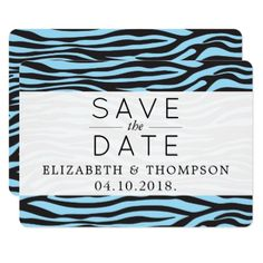 Save the Date - Animal Print Zebra Stripes - Blue Card - wedding invitations diy cyo special idea personalize card