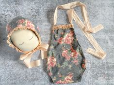 Newborn Girl Prop Outfit - Gray Peach Floral Romper & Bonnet Set - Photo Outfit - READY TO SHIP by wrenandwillowdesigns on Etsy