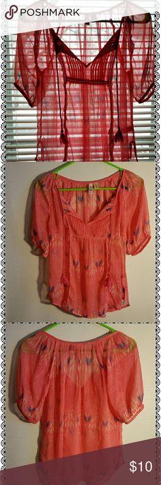 Mudd sheer top Mudd sheer pink top with tassles, & colorful print  100% polyester Mudd Tops Blouses