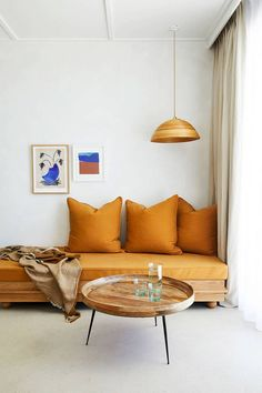 orange linen daybed