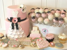 Pink, White and Black Wedding Dress Cake, Wedding Shower Cookies and Cake Pops for a Wedding Shower or Small Wedding.