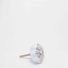 Πόμολο σε σχήμα λουλουδιού με ασημί αποτύπωση (σετ των 2)