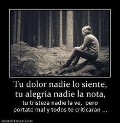 Tu dolor nadie lo siente, tu alegria nadie la nota, tu tristeza nadie la ve,  pero portate mal y todos te criticaran ...