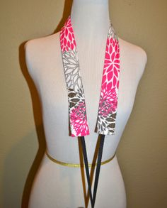Camera Strap, narrow / padded with foam for comfort, Darby Mack / dslr gear / camera gear / Bright pink and grey floral waterproof fabric