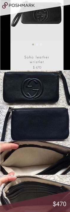 Gucci Soho Leather Wristlet Authentic Gucci Leather Wristlet. Black Leather. Embossed interlocking G detail. Top Zip closer with coordinating leather pull. I received this as a gift and I have never worn it! Mint condition. Hate to sell this but I am simply not a wristlet girl. Gucci Bags Clutches & Wristlets