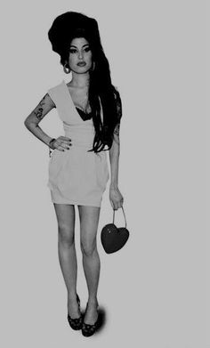 Amy Winehouse. Black and white. Beautiful woman. Skinny. Star. Soul. Jazz. Artist.