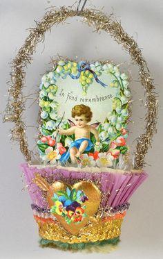 Floral Cupid Heart Valentine in Lavender by DresdenStarOrnaments, $69.95
