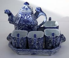 Dragon Jaguar Temple Tea Saki Serving Set with Animal Body and Face Handles and Spouts Signed Hand Painted Porcelain