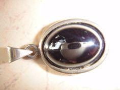 Anhänger mit schwarzem Stein vermutlich ein Hämatit, 925 Silber, Sterlingsilber