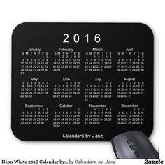Neon White 2016 Calendar by Janz Mouse Pad