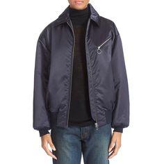 T by Alexander Wang Nylon Bomber Jacket (5.200 NOK) ❤ liked on Polyvore featuring outerwear, jackets, marine, zipper jacket, t by alexander wang, bomber jacket, nylon jacket and blouson jacket
