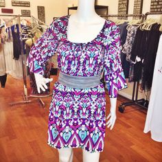 printed tunic dress ~ easy and chic #dresses #prints #brightcolors #wrapbelt #ada #springstyle #shoplocal #shoppoppy