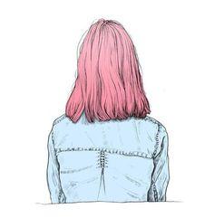 Dibujo de niña de espaldas.