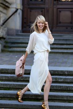 pretty in white, with Chloé rose and gold statement lace-up shoes.