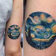 Wonderful starry night tattoo