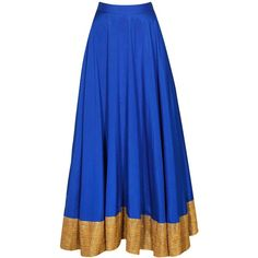 Blue gota flared skirt available only at Pernia's Pop-Up Shop. ($200) ❤ liked on Polyvore featuring skirts, blue knee length skirt, circle skirt, blue flared skirt, blue skater skirt and blue circle skirt