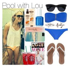 """""""Pool with Lou"""" by perfectharry ❤ liked on Polyvore featuring NLY Trend, Melissa Odabash, Forever 21, Hawaiian Tropic, Anine Bing, Wet Seal and Essie"""