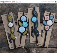 BUY EARLY SALE Hand Embroidered Felt Bookmark Set от LoveMaude