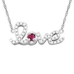 10k Gold Designer 'Love' Cubic Zirconia Accent Birthstone Necklace (White Gold Apr White Topaz), Women's, Size: 18 Inch