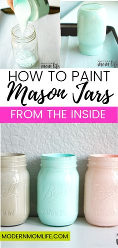 How to paint mason jars from the inside. This easy mason jar project makes great decor pieces for the home. A simple way to paint mason jars from the inside. A step-by-step guide to creating Mason Jar centerpieces for events and home. Mason Jar Lanterns, Mason Jar Centerpieces, Mason Jar Lighting, Diy Candles Jars, Candle Mason Jars, Wedding Centerpieces, Uses For Mason Jars, Quinceanera Centerpieces, Floating Candles