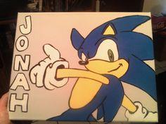 Sonic the Hedgehog Handpainted Wall Art  FREE PERSONALIZATION by alliegirl97, $30.00