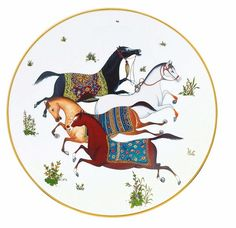 Renowned for their equestrian motifs, the Cheval d'Orient Porcelain Dinnerware & Home Accents Collection by Hermes is a series of dinnerware and serving pieces that is heavily influenced by Persian equestrian art. Hermes, Scully And Scully, Charles Perrault, Horse Illustration, Creation Deco, Iranian Art, Equine Art, Horse Art, Islamic Art