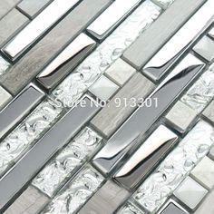 Sample Stainless Steel Metal Pattern Mosaic Tile Kitchen Backsplash Wall Sink Pinterest And
