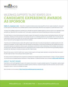 WILSONHCG SUPPORTS TALENT BOARD'S 2014 CANDIDATE EXPERIENCE AWARDS AS SPONSOR