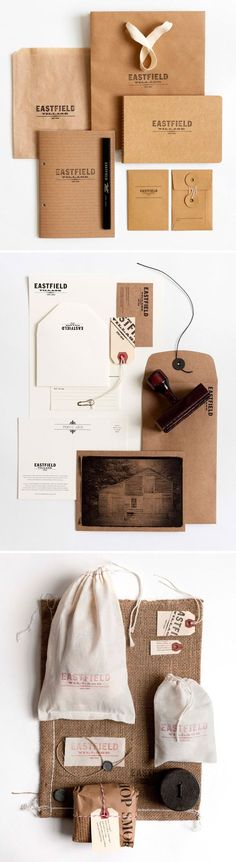 Eastfield Village Branding by Hovard Design. They developed the identity, packaging and website. I absolutely love the simplicity of the branding - kraft, muslin, twine.