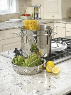 Cuisinart classic stainless steel stock pot with pasta insert and steamer basket set polished to a mirror finish Cookware Set, Cuisinart Cookware, Bakeware, Pasta Cookers, Stainless Steel Pot, Thing 1, Multicooker, Pot Sets, Cooking