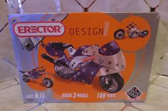 Erector Design 1: . Builds 3 Motorcycle Models 189 Parts Complete in Box…