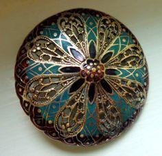 Large Antique PIERCED ENAMEL Button