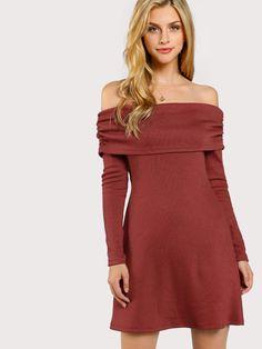 Fold Over Off Shoulder Dress -SheIn(Sheinside)