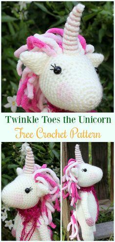Crochet Twinkle Toes the Unicorn Amigurumi Free Pattern- #Amigurumi Crochet #Unicorn; Toy Softies Patterns