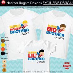 Superhero Biggest Brother Shirt, Superhero Big Brother Shirt & Superhero Little Brother Shirt - 3 Personalized Sibling Shirts by HeatherRogersDesigns on Etsy https://www.etsy.com/listing/177532860/superhero-biggest-brother-shirt