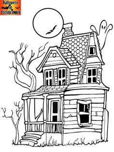 Halloween griezelhuis kleurplaat