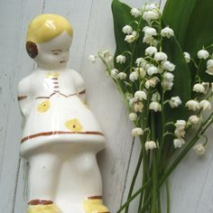 Vintage Ceramic Pottery Girl  Vase Planter by lookonmytreasures