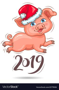 Little cute piggy in santas hat 2019 new year vector image on - jane chu - Christmas Words, Christmas Makes, Merry Christmas And Happy New Year, Christmas Pictures, Christmas Art, New Year Vector, Blue Nose Friends, Mini Pigs, Cute Piggies