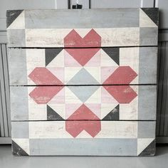 Image of For Our Hearts Barn Quilt Barn Quilt Designs, Barn Quilt Patterns, Pattern Blocks, Quilting Designs, Paint Patterns, Block Patterns, Quilting Tips, Quilting Projects, Chicken Barn