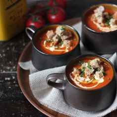 Smoked tomato soup with skinny cheese croutons. Wholesome, rich deliciousness.
