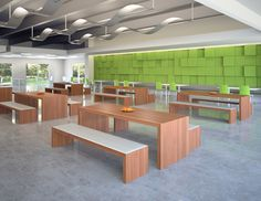 3d rendering of a corporate cafeteria with green wall