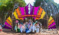 Want to create a custom project with Stretch Shapes? Electric Forest, Electric Daisy, Electronics Projects, Stage Design, Event Design, Forest Festival, Bamboo Art, Fabric Structure, Shade Structure