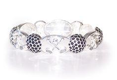 Silver Stretch Crossed Club Golfer's Bracelet w/ Crystals