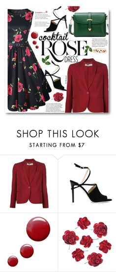 """""""Cocktail Dress"""" by beebeely-look ❤ liked on Polyvore featuring STELLA McCARTNEY, Wild Rose, Jimmy Choo, Topshop, cocktaildress, sammydress, springfashion, floraldress and floratprint"""