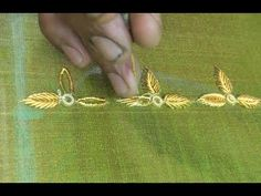 How to Make LEAF and FLOWERS with Jardosi Spring - YouTube Zardosi Embroidery, Hand Embroidery Dress, Hand Embroidery Videos, Embroidery On Clothes, Simple Embroidery, Hand Embroidery Stitches, Hand Embroidery Designs, Beaded Embroidery, Bead Embroidery Tutorial