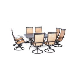 Cambridge Legacy 9-Piece Outdoor Dining Set with Square Table and Eight Swivel Rockers , Patio Furniture