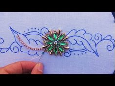 (hand embroideru design with long beads (beads work Bead Embroidery Tutorial, Hand Embroidery Videos, Bead Embroidery Patterns, Couture Embroidery, Bead Embroidery Jewelry, Gold Embroidery, Embroidery Designs, Broderie Anglaise Fabric, Diy Broderie