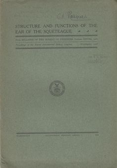 Structure and Functions of the Ear of the Squeteague