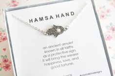 Hamsa Necklace Hamsa Hand Jewelry Good Luck by CrystalKimDesigns
